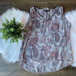 WHBM tiered paisley lace tank top